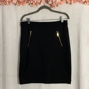 Michael Kors Black Skirt with Gold zippers/pockets